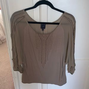 1.9 Tan Top with Embellishments - Anthropologie